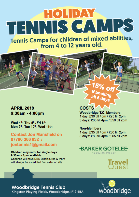 Easter Tennis Holiday Camps at Woodbridge Tennis Club flyer