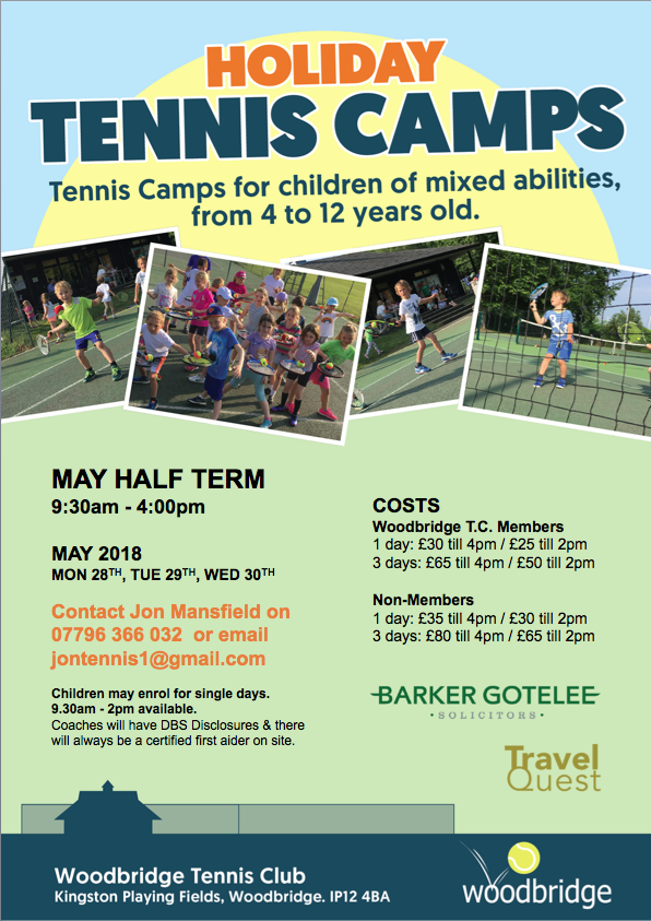 May half-term Tennis Camps at Woodbridge Tennis Club