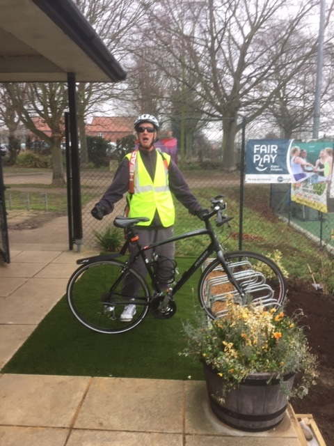 Trying out the new bike rack at Woodbridge Tennis Club